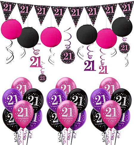 Pink Sparkling Celebration 21st Birthday Party Supplies