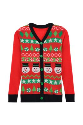 19b1299bf9f Red Snowman Ugly Christmas Sweater Cardigan