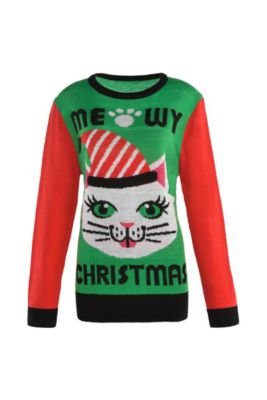 4615371797e Adult Meowy Christmas Cat Ugly Christmas Sweater