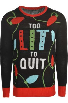 light up too lit to quit ugly christmas sweater