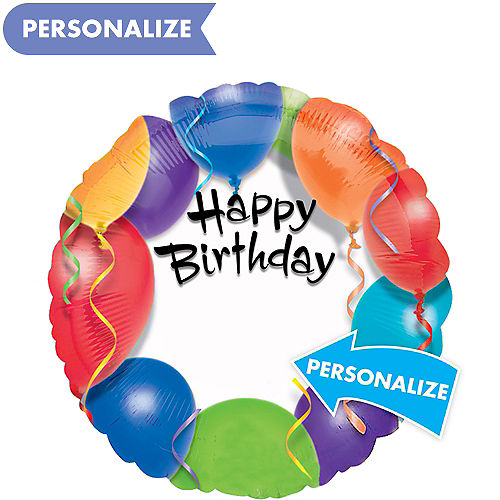Personalized Colorful Balloons Happy Birthday Balloon 17in
