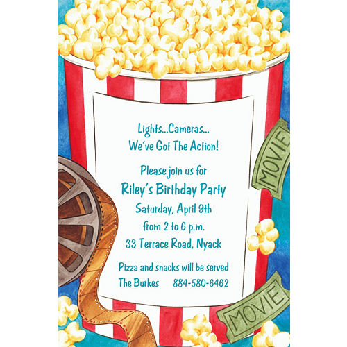 Hollywood party invitations party city custom movie night invitations filmwisefo