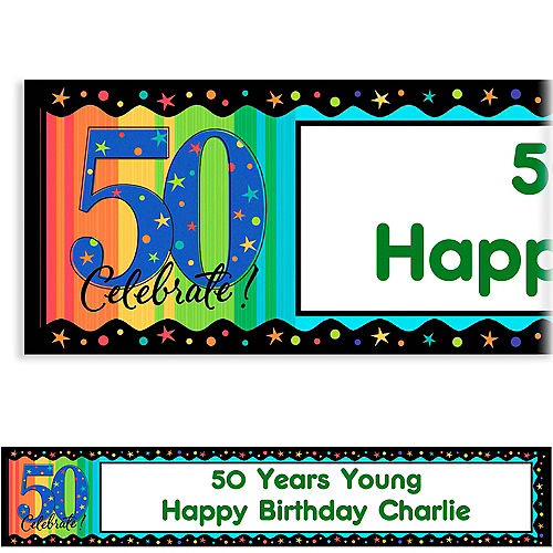 custom a year to celebrate 50th birthday banner 6ft