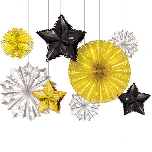 black gold silver new years starburst decorations 8ct