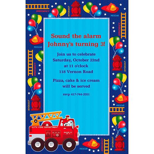Custom Fire Engine Fun Invitations