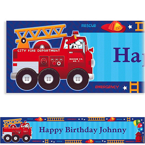 Custom Fire Engine Fun Banner 6ft