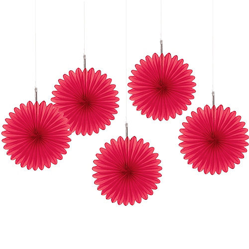 Red Mini Paper Fan Decorations 5ct