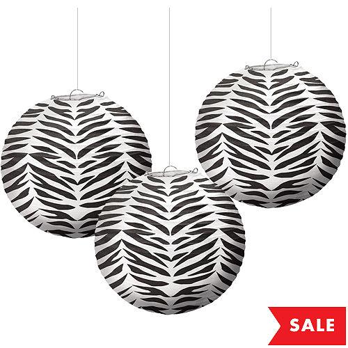 Zebra Paper Lanterns 3ct