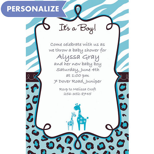 Custom Blue Safari Baby Shower Invitations