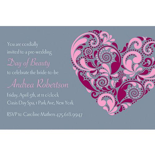 Bridal shower invitations thank you notes invitation kits party custom big heart bridal shower invitations filmwisefo