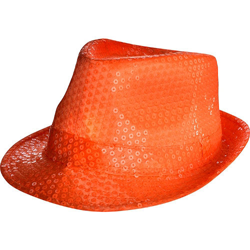 Black Light Neon Orange Fedora Hat c96c48a1f42e