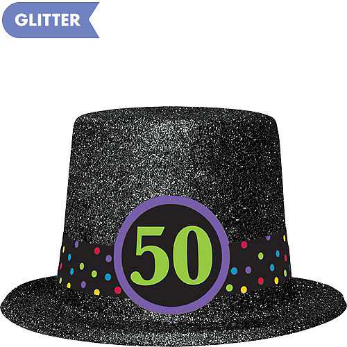 Glitter 50th Birthday Top Hat