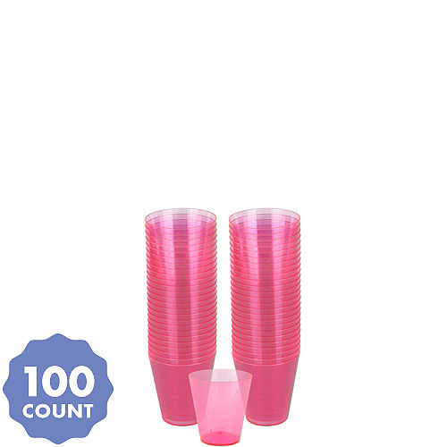 8dbbf747d61 Big Party Pack Bright Pink Plastic Shot Glasses 100ct