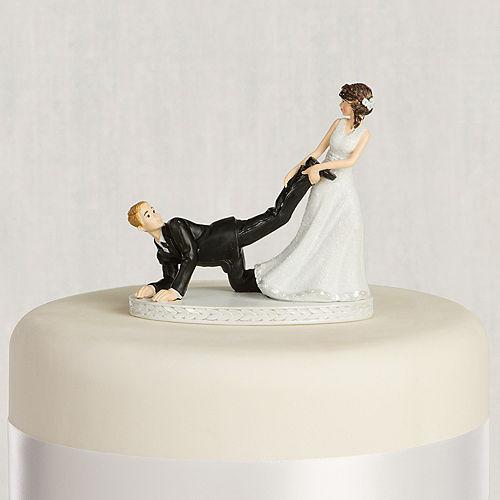 Wedding cake toppers monogram funny cake toppers party city leg puller bride groom wedding cake topper junglespirit Images