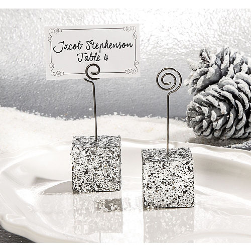 silver glitter cube place card holder - Wedding Place Cards