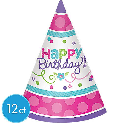 Purple Teal Pastel Happy Birthday Party Hats 12ct