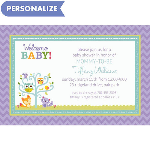 Custom baby shower invitations baby shower invites party city custom woodland welcome invitations filmwisefo
