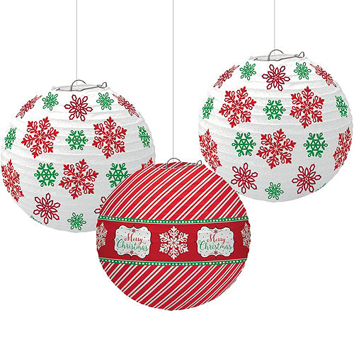 modern christmas paper lanterns 3ct