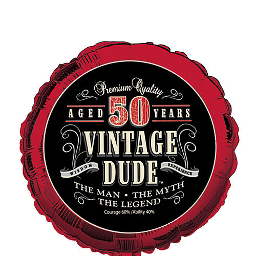 Vintage Dude 50th Birthday Balloon 18in