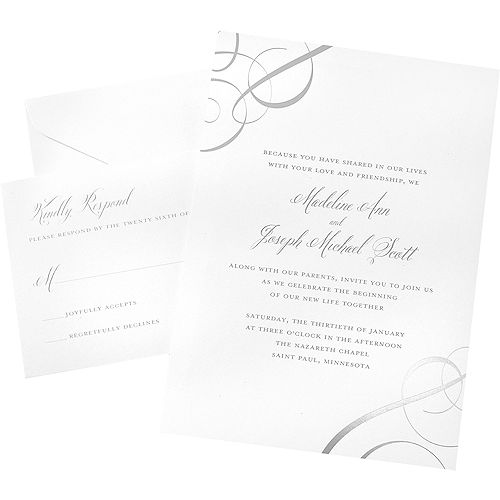 silver foil swirl wedding invitations 50ct