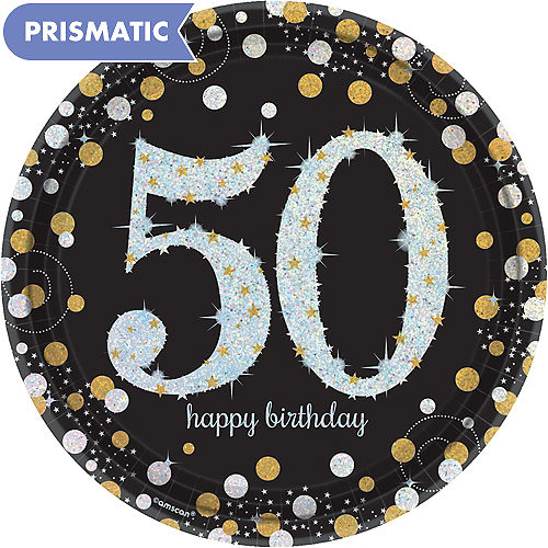 In Store Pickup Prismatic 50th Birthday Lunch Plates 8ct