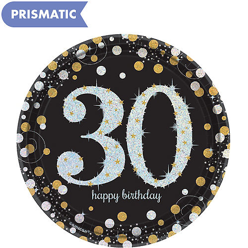 Prismatic 30th Birthday Dessert Plates 8ct