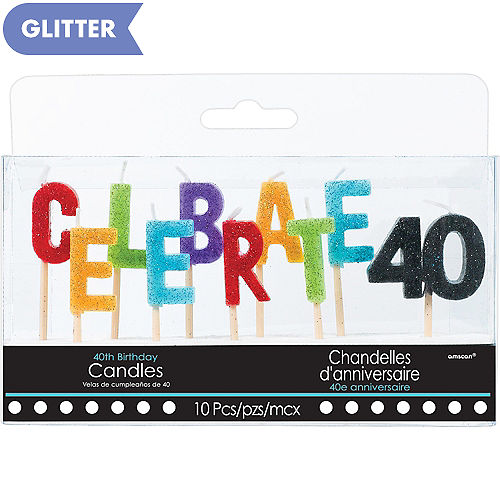 Glitter Celebrate 40 Birthday Toothpick Candle Set 10pc