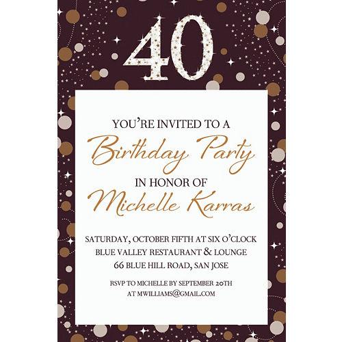 Custom Sparkling Celebration 40 Invitation