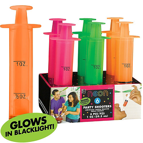 Black Light Neon Party Shooter Syringes 6ct