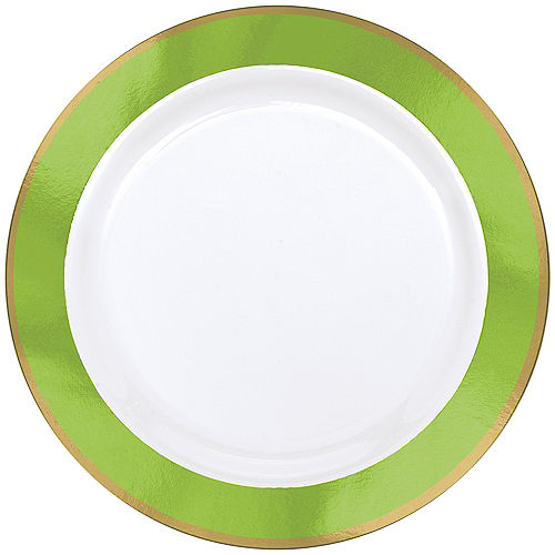 Gold & Kiwi Green Border Premium Plastic Dinner Plates 10ct
