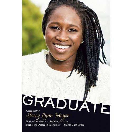 custom graduate black slant photo announcement - Graduation Announcement Cards