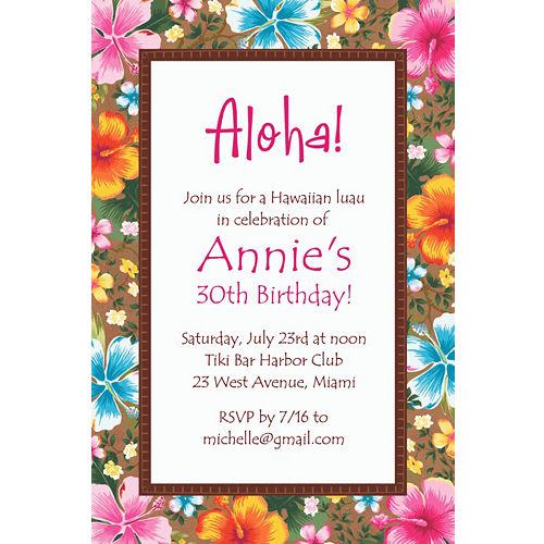 Printable 50th Birthday Invitations Custom Hawaiian Hibiscus Invitation
