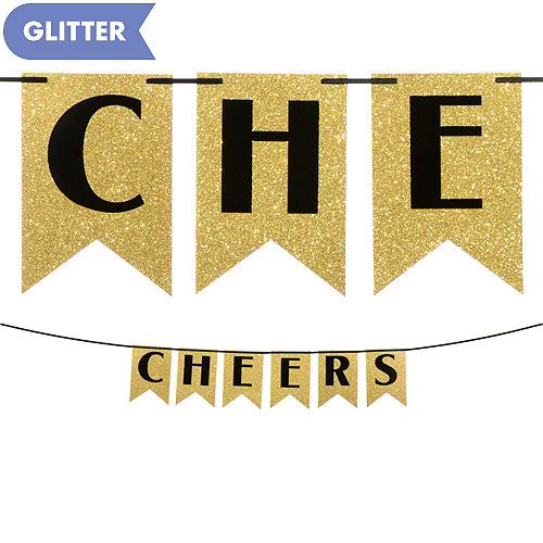 glitter cheers to a new year pennant banner