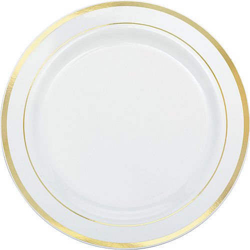 White Gold Trimmed Premium Plastic Buffet Plates 10ct