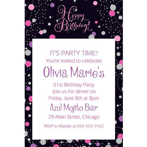 Custom Pink Sparkling Celebration Birthday Invitation