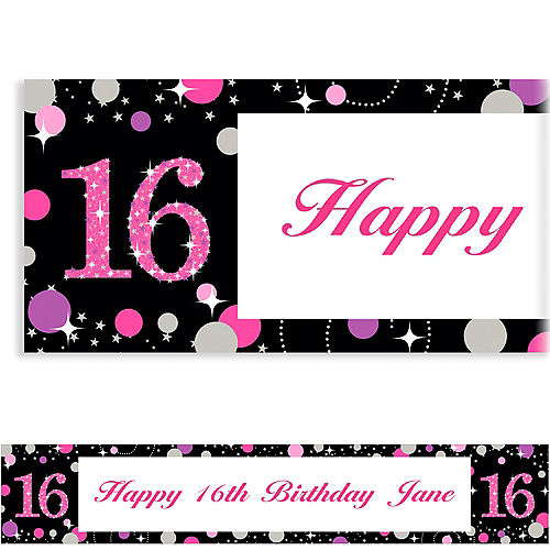 a03bee673c2 Custom Sweet 16 Birthday Banners - Personalized Teen Birthday ...