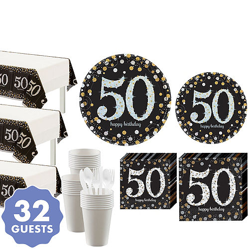 In Store Pickup Sparkling Celebration 50th Birthday Party Kit For 32 Guests