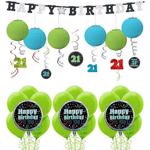 Brilliant 21st Birthday Decorating Kit With Balloons