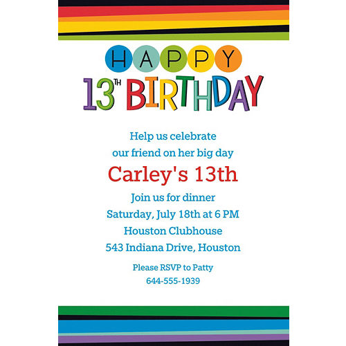 Custom Rainbow 13th Birthday Invitation