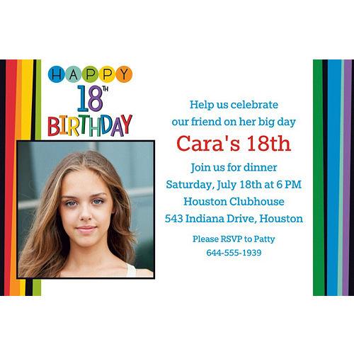 Custom Rainbow 18th Birthday Photo Invitation