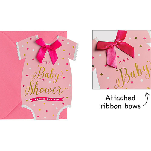 Invitations stationery party city premium pink snapsuit baby shower invitations 8ct filmwisefo