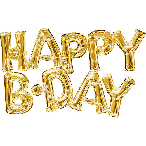 air filled gold happy b day letter balloon banners 2ct