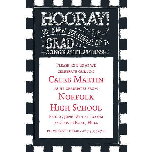 Custom graduation invitations party city custom chalk hooray graduation invitation filmwisefo