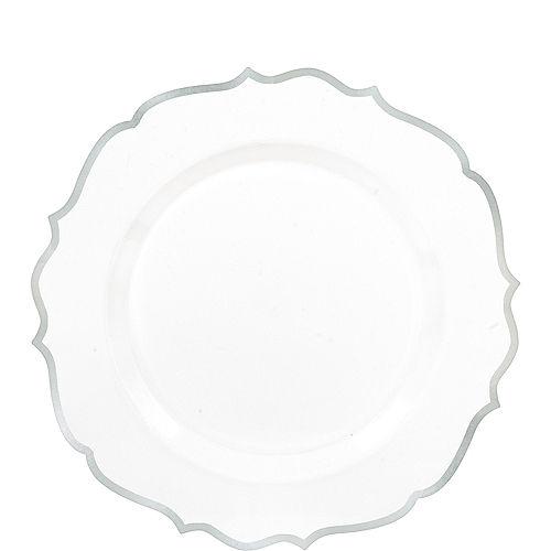 White Silver Premium Tableware Silver Trim Premium Plastic Plates Party City