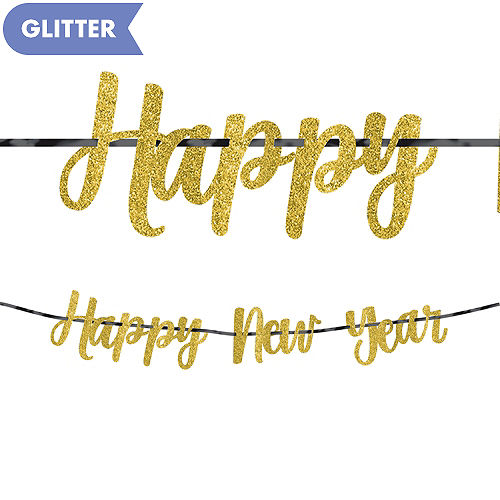glitter gold new years letter banner