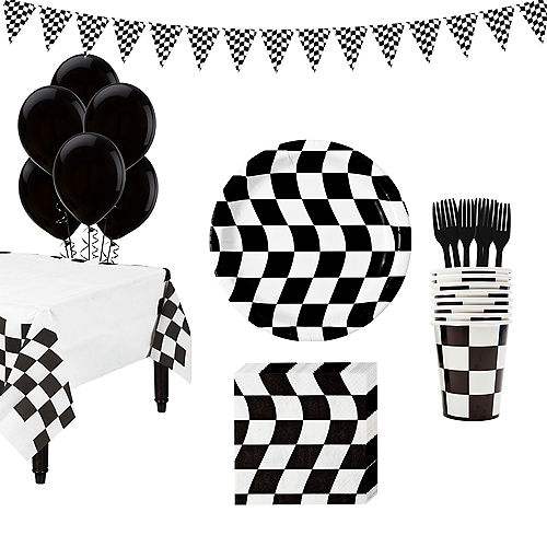 Black White Checkered Super Tableware Kit For 16 Guests