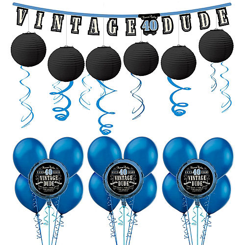 Vintage Dude 40th Birthday Decorating Kit With Balloons