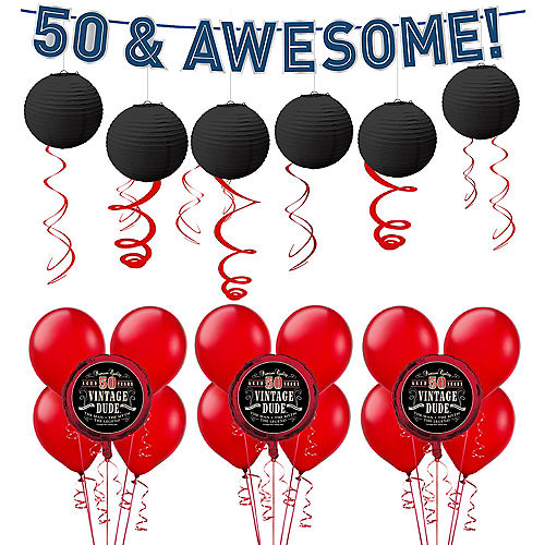 Vintage Dude 50th Birthday Decorating Kit With Balloons