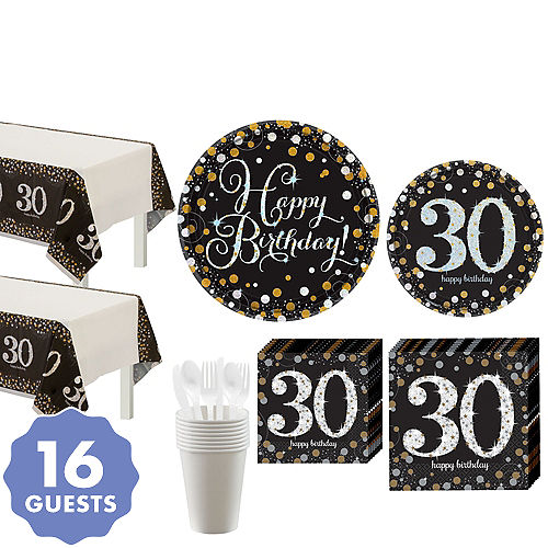 0047b1408 Sparkling Celebration 30th Birthday Party Kit for 16 Guests