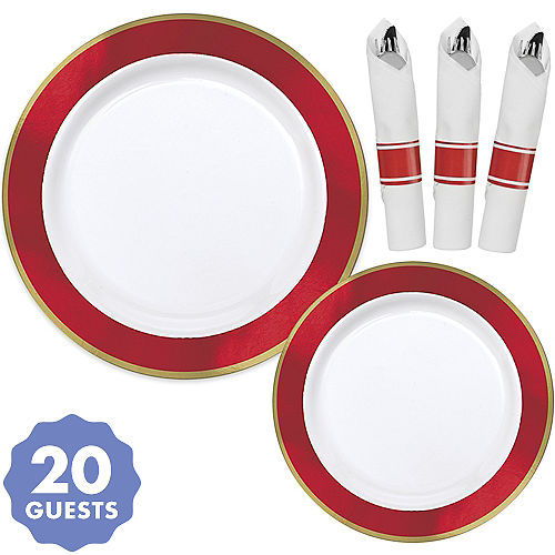 premium gold red border tableware kit for 20 guests